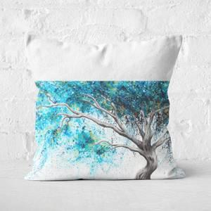 Blue Crystal Dream Tree Square Cushion