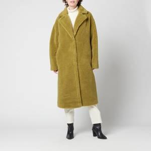 Stand Studio Women's Maria Faux Fur Teddy Coat - Army Green