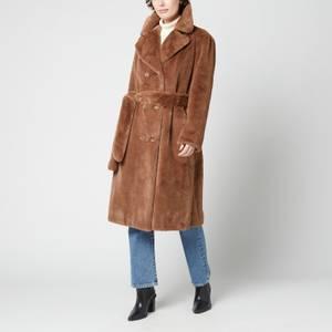 Stand Studio Women's Faustine Faux Fur Velvety Coat - Light Brown
