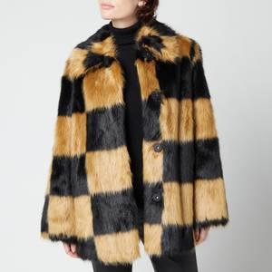 Stand Studio Women's Nani Faux Fur Check Jacket - Black/Beige