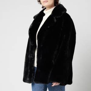 Stand Studio Women's Savannah Faux Fur Lush Teddy Jacket - Black