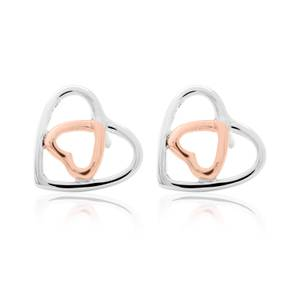 Silver and Rose Gold Celtic Heart Earrings