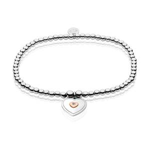 Cariad Heart White Topaz Affinity Bead Bracelet 16.5-17.5cm