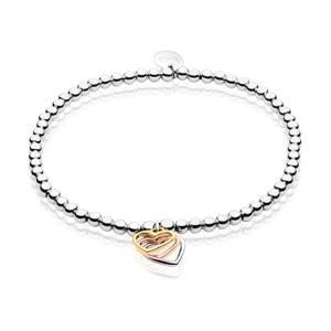 Triple Heart Affinity Bead Bracelet 16.5-17.5cm