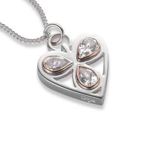 Silver and Rose Gold Heart of Wales Pendant