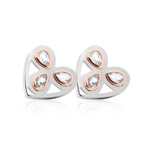 Silver and Rose Gold Heart of Wales Earrings