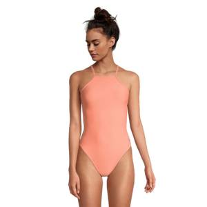 Solid High Neck Tie Back Onepiece