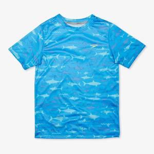 Short Sleeve Printed Shark Swim Shirt