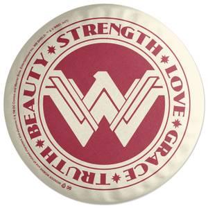 Wonder Woman Truth Beauty Strength Love Grace Round Cushion