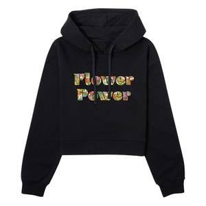 Disney Flower Power Women's Cropped Hoodie - Black