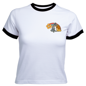 Disney Lady And The Tramp Rainbow Women's Cropped Ringer T-Shirt - White / Black