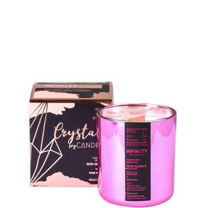 Wicks and Stones Infinity Pink Peony and Wild Roses Rose Quartz Crystal Candle 450g