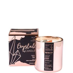 Wicks and Stones Infinity Crisp Lemongrass and Persian Lime Pyrite Crystal Candle 450g