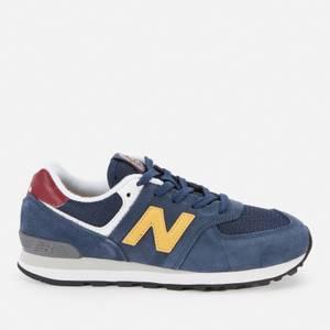New Balance Kids' 574 Trainers - Navy/Yellow/Red