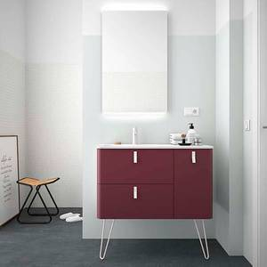 Sketch 900mm Right Hand Inset Basin and Unit (Legs Included) - Pomegranate Red