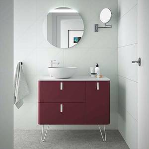 Sketch 900mm Right Hand Wash Bowl and Unit (Legs Included) - Pomegranate Red