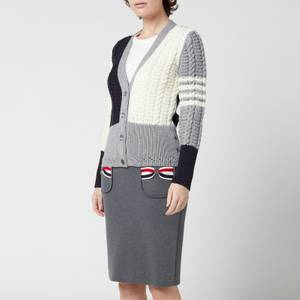 Thom Browne Women's Funmix Pointelle Cable Classic Cardigan - Grey
