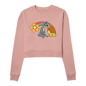 Disney Lady And The Tramp Women's Cropped Sweatshirt - Dusty Pink