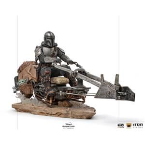 Iron Studios Star Wars The Mandalorian Deluxe Art Scale Statue 1/10 Mandalorian on Speederbike 18 cm