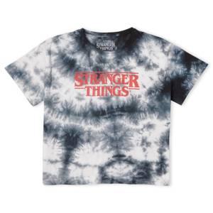 Stranger Things Logo Women's Cropped T-Shirt - Black Tie Dye