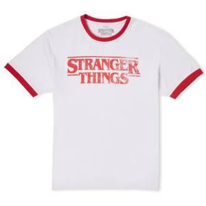 Stranger Things Vintage Logo Unisex Ringer T-Shirt - White/Red