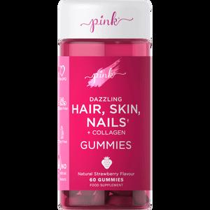 Pink Hair, Skin & Nails + Collagen - 60 Gummies