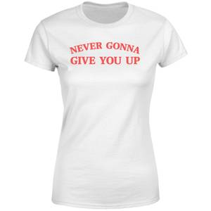 Never Gonna Give You UP Rick Rolled Women's T-Shirt - White