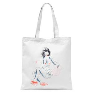 Girl With A Magazine Light Tote Bag - White