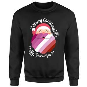 LGBTQ+ Lesbian Christmas Love Unisex Sweatshirt - Black