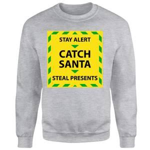 NHS Covid Christmas Catching Santa Unisex Sweatshirt - Grey