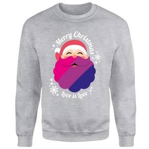 LGBTQ+ Bisexual Christmas Love Unisex Sweatshirt - Grey