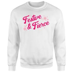 Snowy Festive & Fierce Unisex Sweatshirt - White