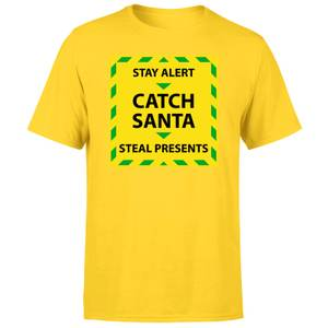 NHS Covid Christmas Catching Santa Men's T-Shirt - Yellow