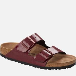 Birkenstock Women's Arizona Slim Fit Leather Double Strap Sandals - Metallic Maroon