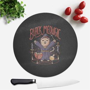 Black Meowgic Round Chopping Board