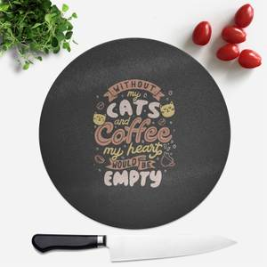 Cats And Coffee Round Chopping Board