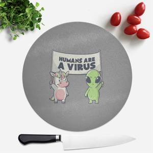 Humans Are A Virus Round Chopping Board