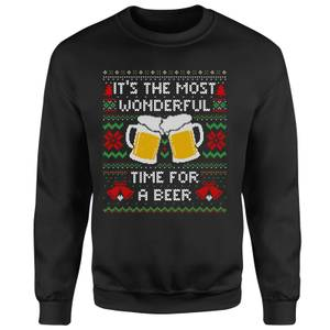 Time For A Christmas Beer Unisex Sweatshirt - Black