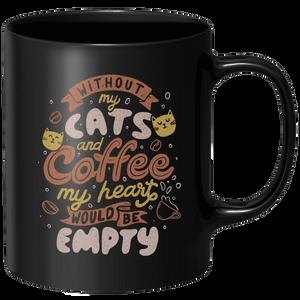 Cats And Coffee Mug - Black