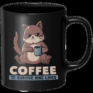 Coffee To Survive Nine Lives Mug - Black