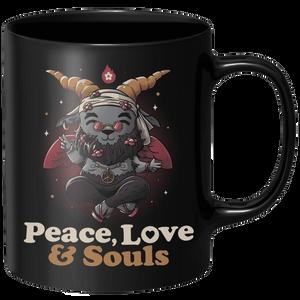 Peace Love And Souls Mug - Black