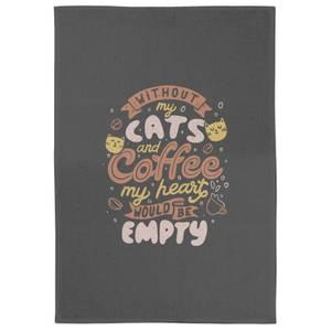 Cats And Coffee Tea Towel