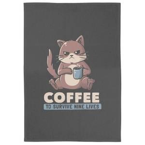 Coffee To Survive Nine Lives Tea Towel