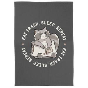 Eat Trash Sleep Repeat Tea Towel