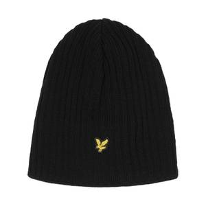 Knitted Ribbed Beanie - True Black