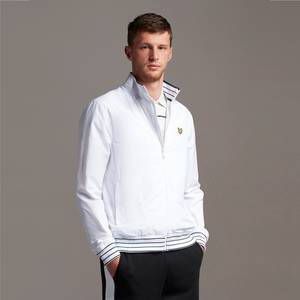 Tipped Funnel Neck Jacket - White