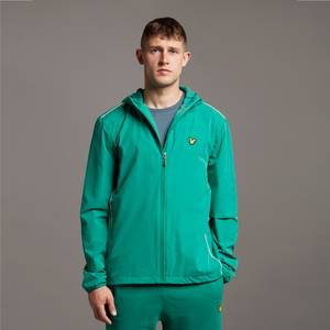 Hooded Jacket with Contrast Piping - Pine Green