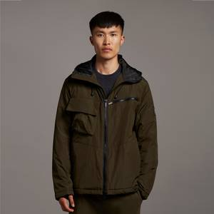 Casuals Wadded Dual Pocket Jacket with Face Guard - Olive