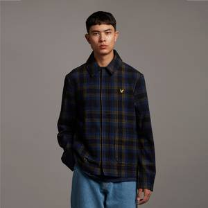 Archive Check Wool Jacket - Navy
