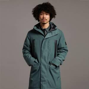 Black Eagle Longline Fabric Mix Coat - Deep Green